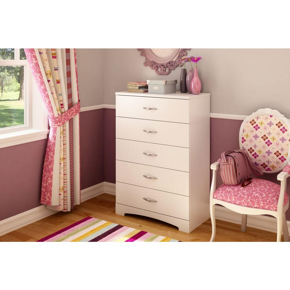 South Shore Majestic 5-Drawer Chest in Pure white-3160035 - The Home