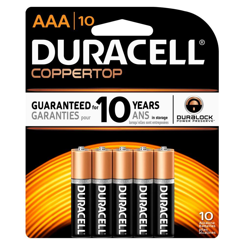 Duracell Coppertop Alkaline AAA Battery (10-Pack)-004133375464 - The Home Depot