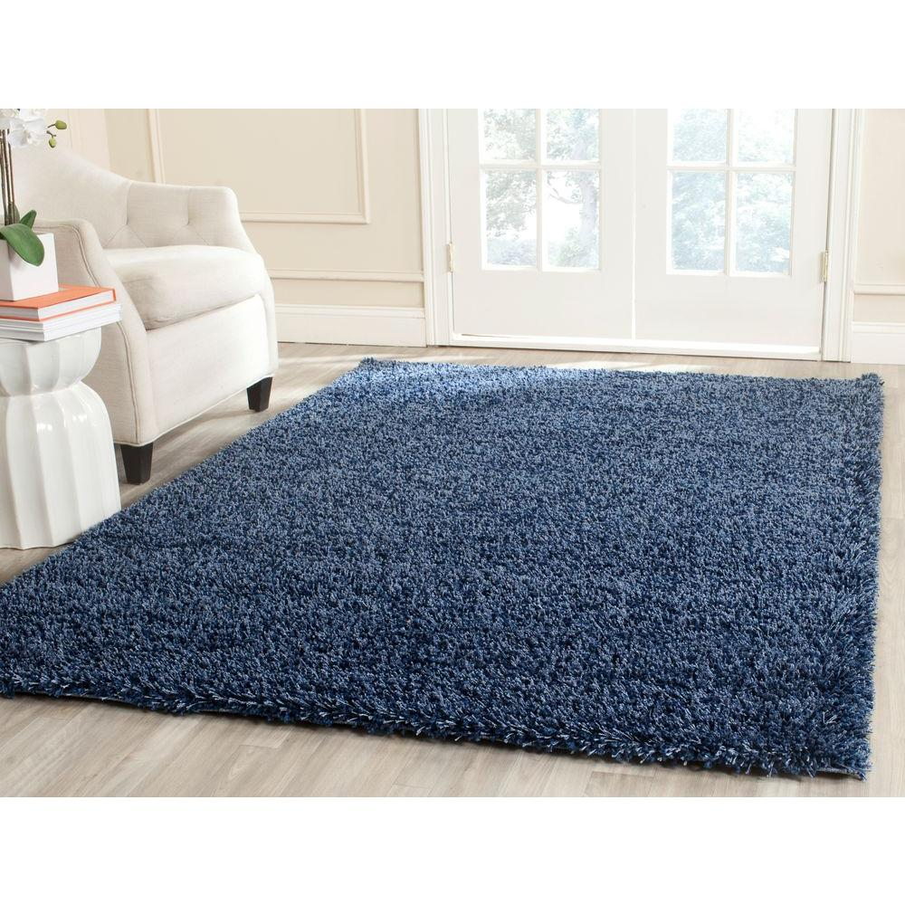 California Shag Navy 9 ft. 6 in. x 13 ft. Area