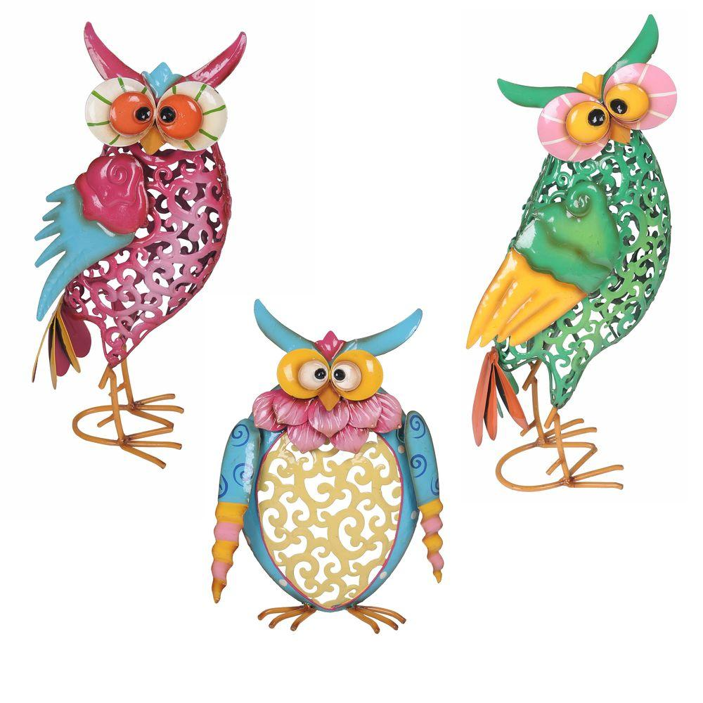 Sunjoy whimsical owls garden statues 110301004 the home for Whimsical garden statues
