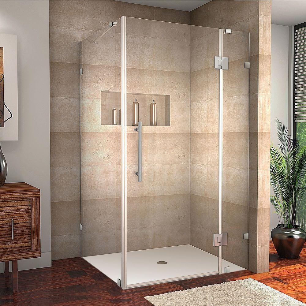 Avalux 40 in. x 72 in. Frameless Shower Enclosure in Stainless