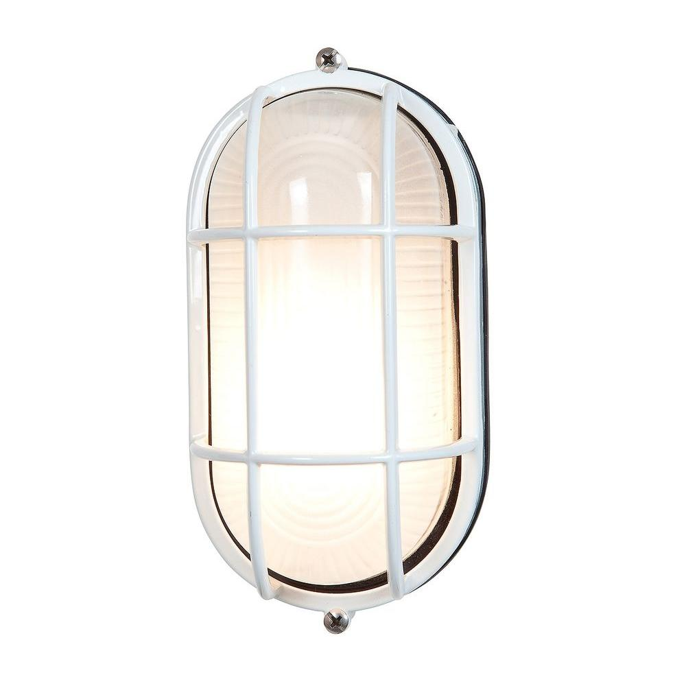 Access Lighting Nauticus 1-Light White Outdoor Bulkhead Light with Frosted Glass Shade