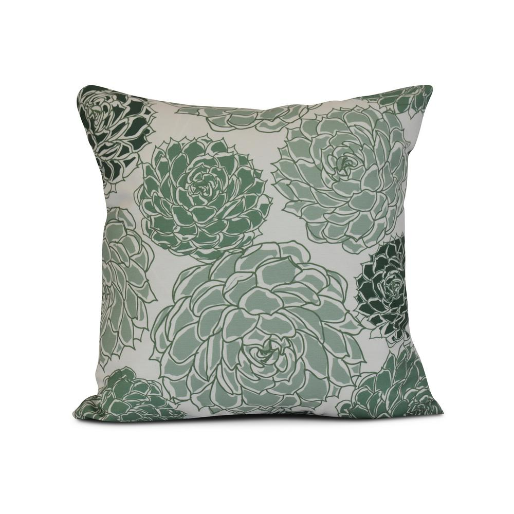 16 in. Olivia Floral Print Pillow in Green-PF841GR15-16 - The Home