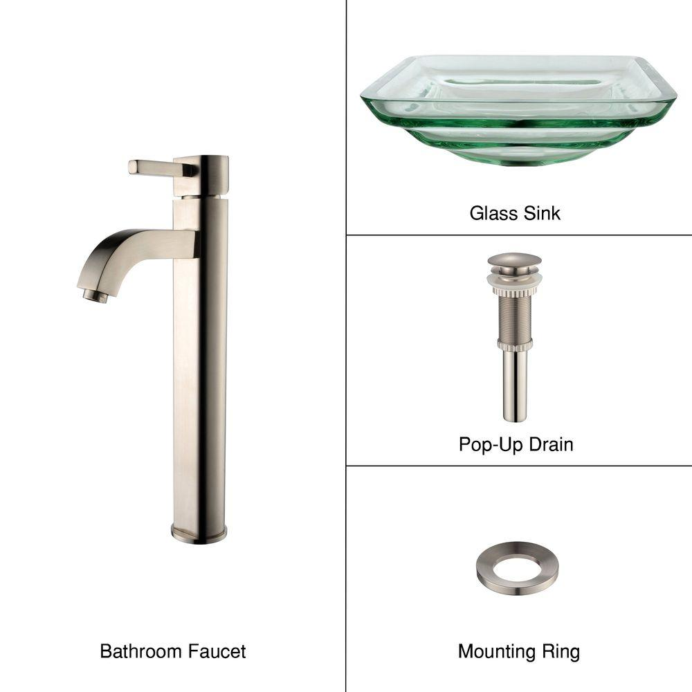 KRAUS Oceania Glass Bathroom Sink in Clear with Single Hole Single-Handle Low-Arc Ramus Faucet in Satin Nickel-DISCONTINUED