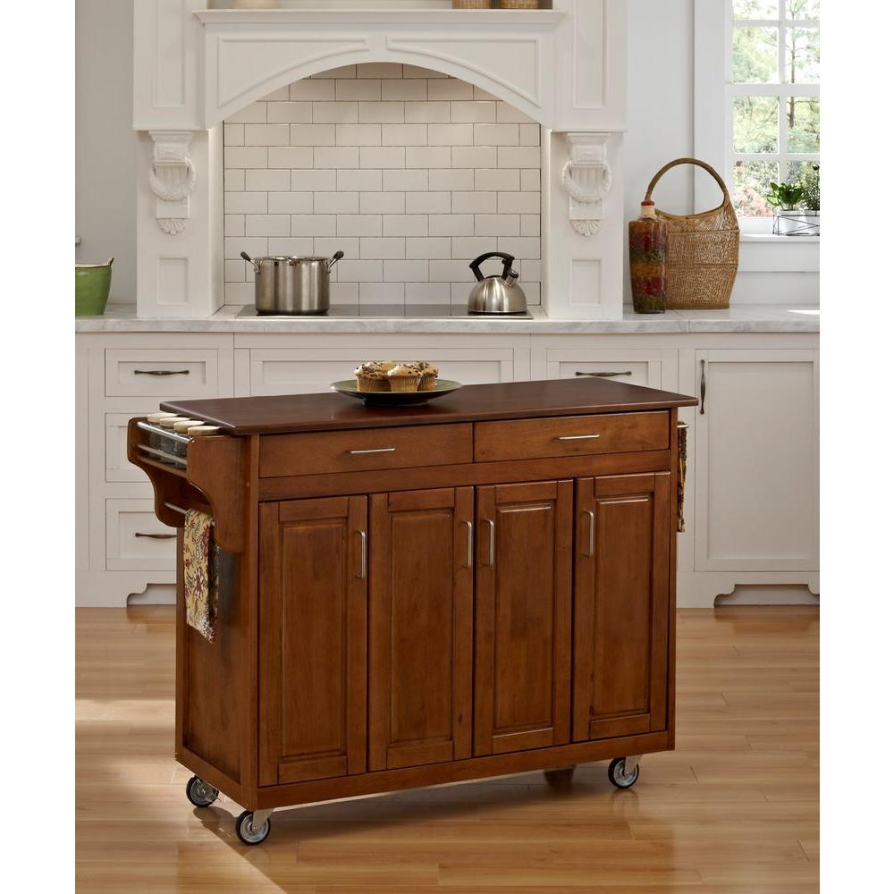 Home Styles Create-a-Cart Wood Top Kitchen Cart with Towel Bar in