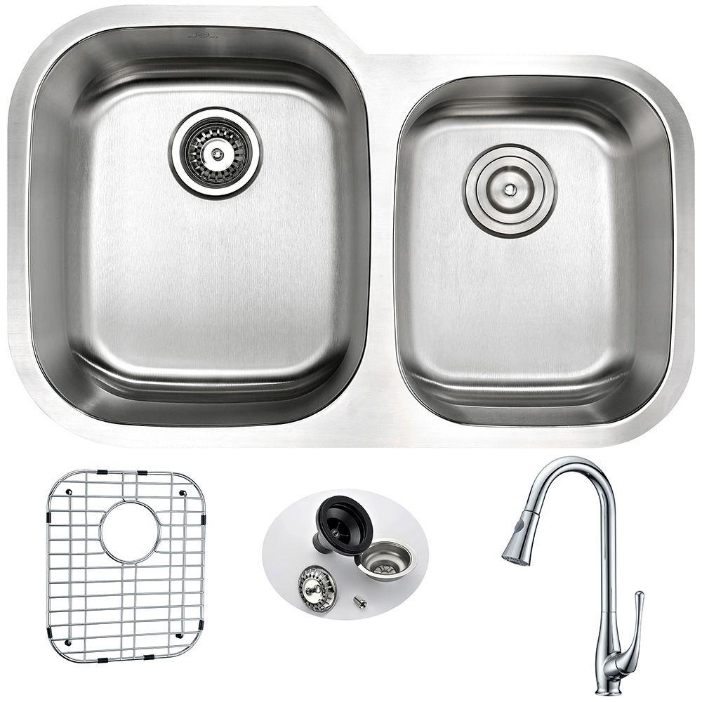 MOORE Undermount Stainless Steel 32 in. Double Basin Kitchen Sink and