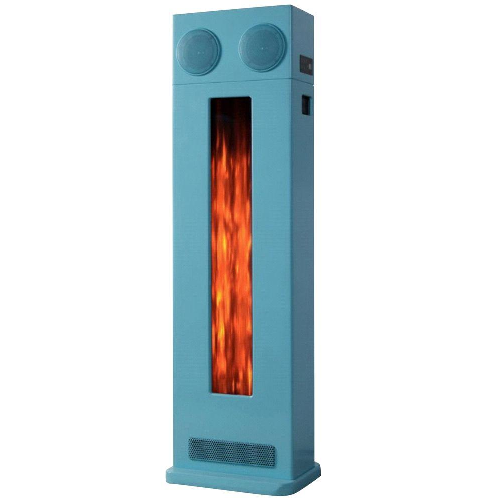Yosemite Home Decor Retro 15 in. Electric Fireplace in Blue-DISCONTINUED