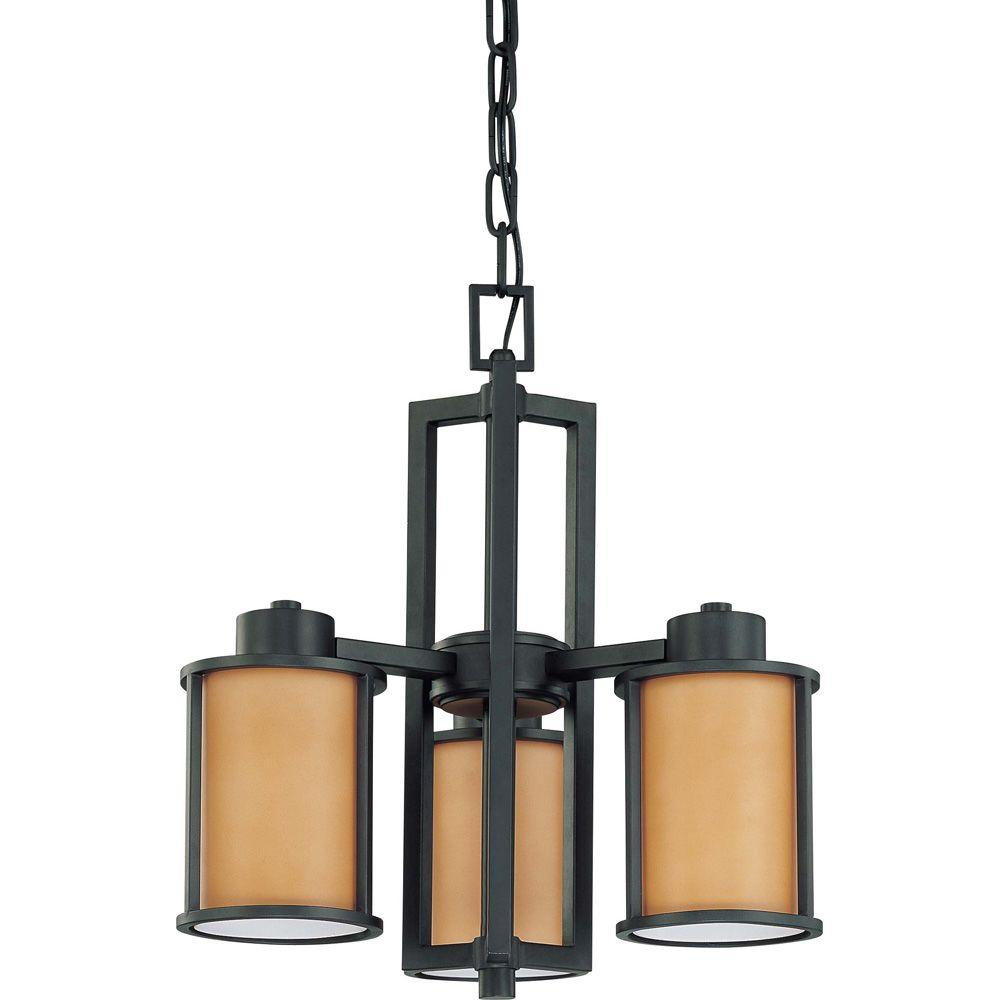Glomar Odeon 3-Light Aged Bronze Convertible Up/Down Chandelier with Parchment Glass Shade