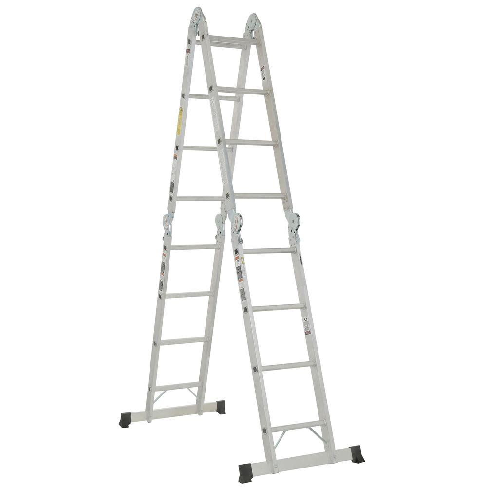16 ft. Aluminum Folding Multi-Position Ladder with 300 lb. Load Capacity