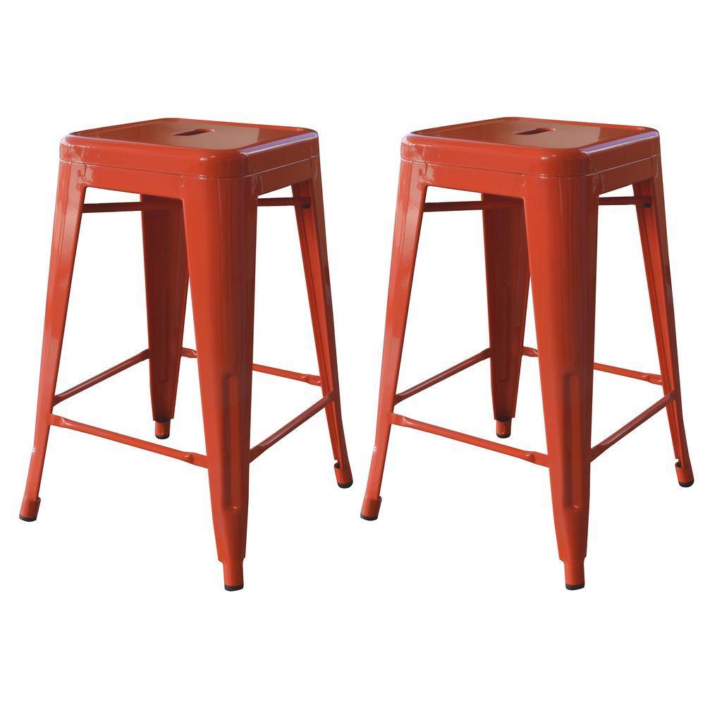 AmeriHome Loft Series 24 in. Metal Bar Stool Set in Orange