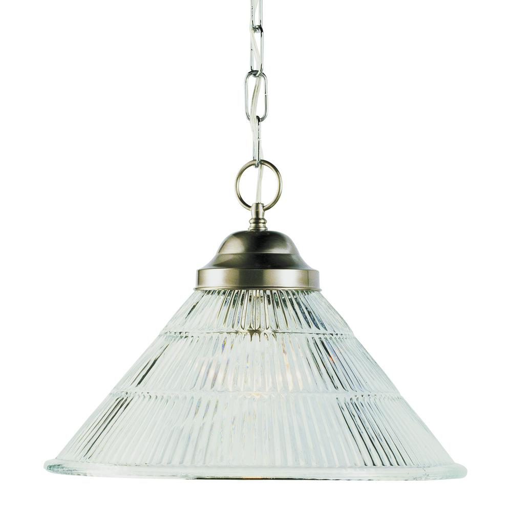 Baldwin 1-Light Brushed Nickel Pendant with Reeded Glass Shade
