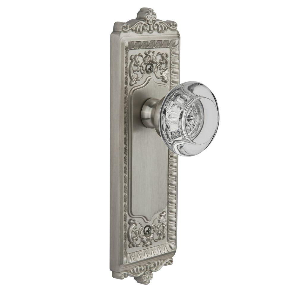 Grandeur Satin Nickel Double Dummy Windsor Plate with Bordeaux Crystal Knob