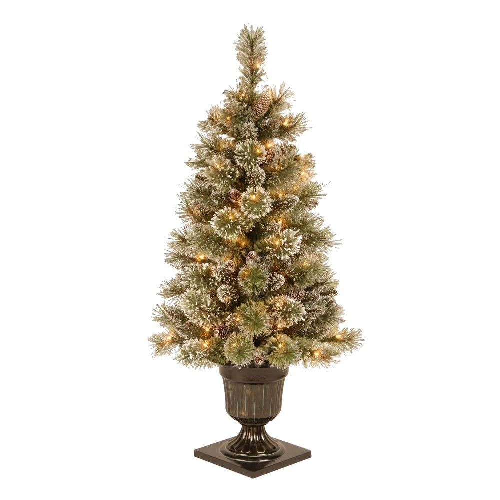 National Tree Company Holiday Ornaments & Decor 4 ft. Pre-Lit Sparkling Pine Potted Artificial Christmas Tree with Pinecones and Frosted Tips Greens GB1-40LO