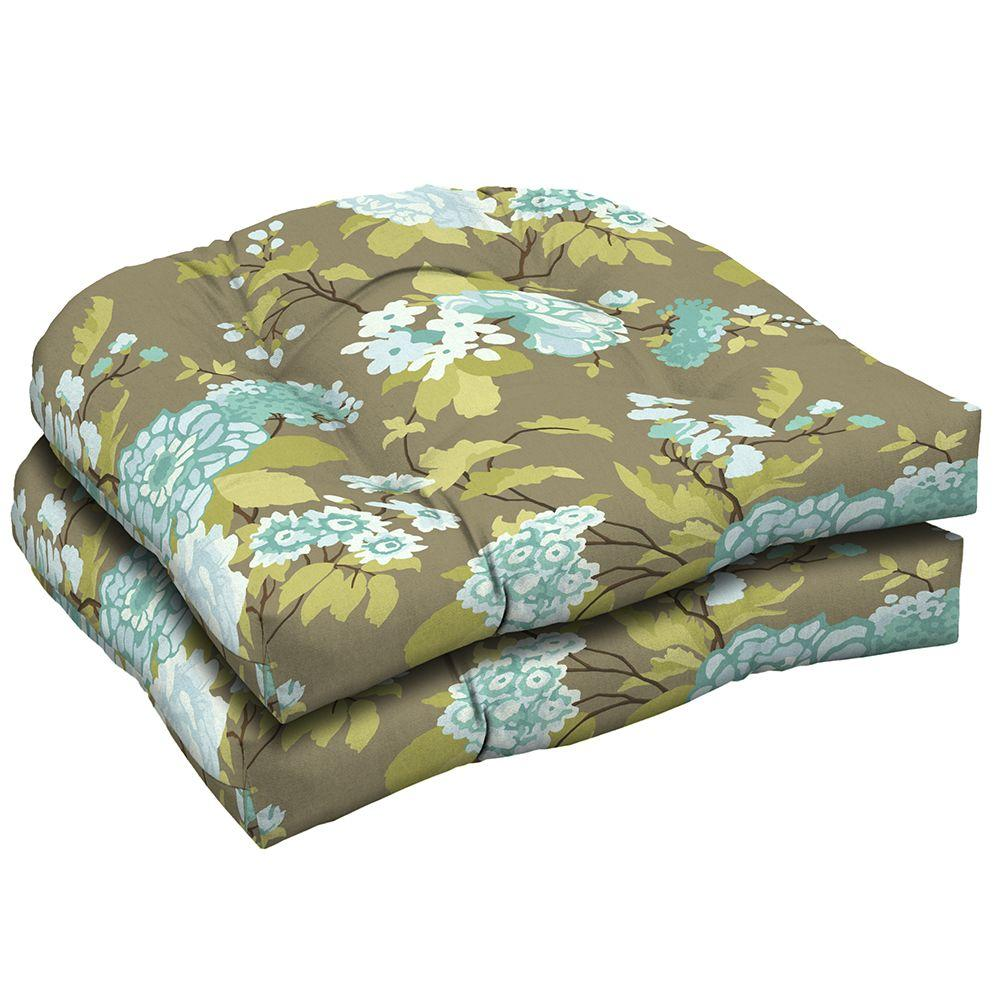 Hampton Bay Virginia Floral Tufted Outdoor Seat Pad (2-Pack)