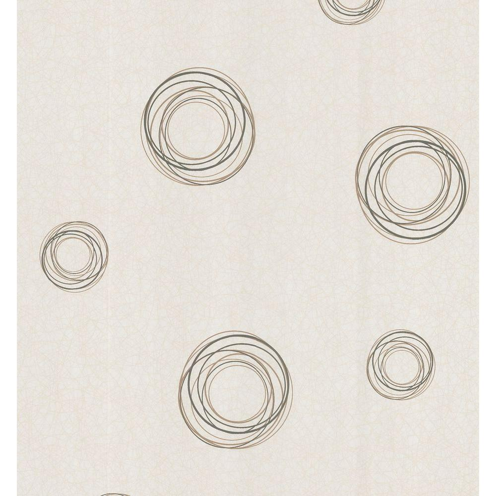 Brewster Simple Space Beige Retro Circles Wallpaper Sample