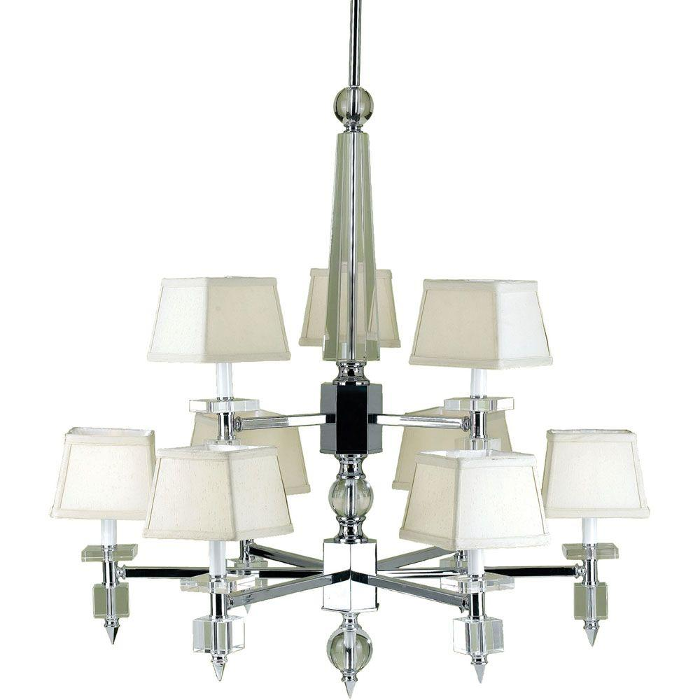Cluny 9-Light Chrome Chandelier with Cream Shades