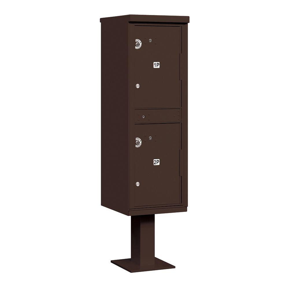 Salsbury Industries 3300 Series Private 2-Compartments Outdoor Parcel Locker in Bronze