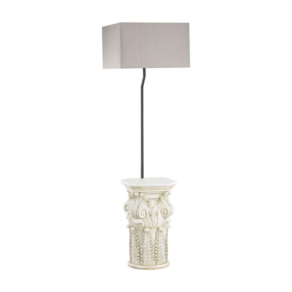 62 in. Patras Antique White Outdoor Floor Lamp with Taupe Shade-TN-998137