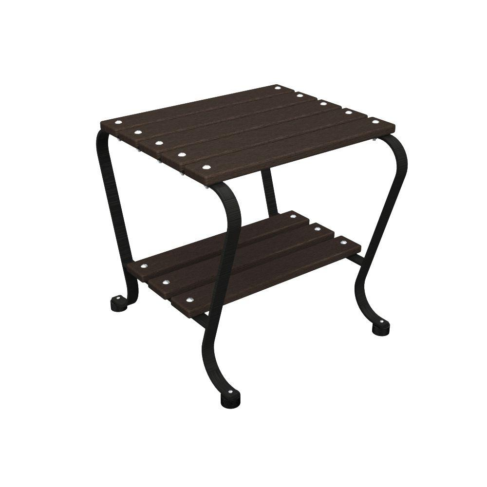 18 in. Black and Mahogany Patio Side Table