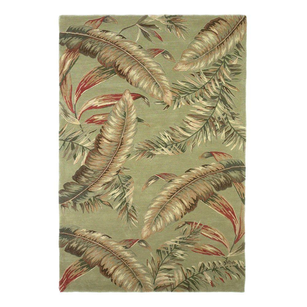 Kas Rugs Antique Ferns Sage 5 ft. 3 in. x 8 ft. 3 in. Area Rug