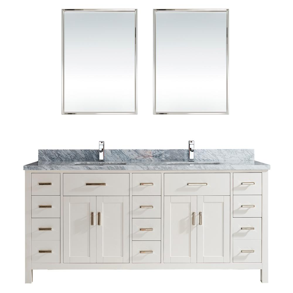Kalize II 75 in  W x 22 in  D Vanity in White with Marble. 72 79   Gray   Bathroom Vanities   The Home Depot