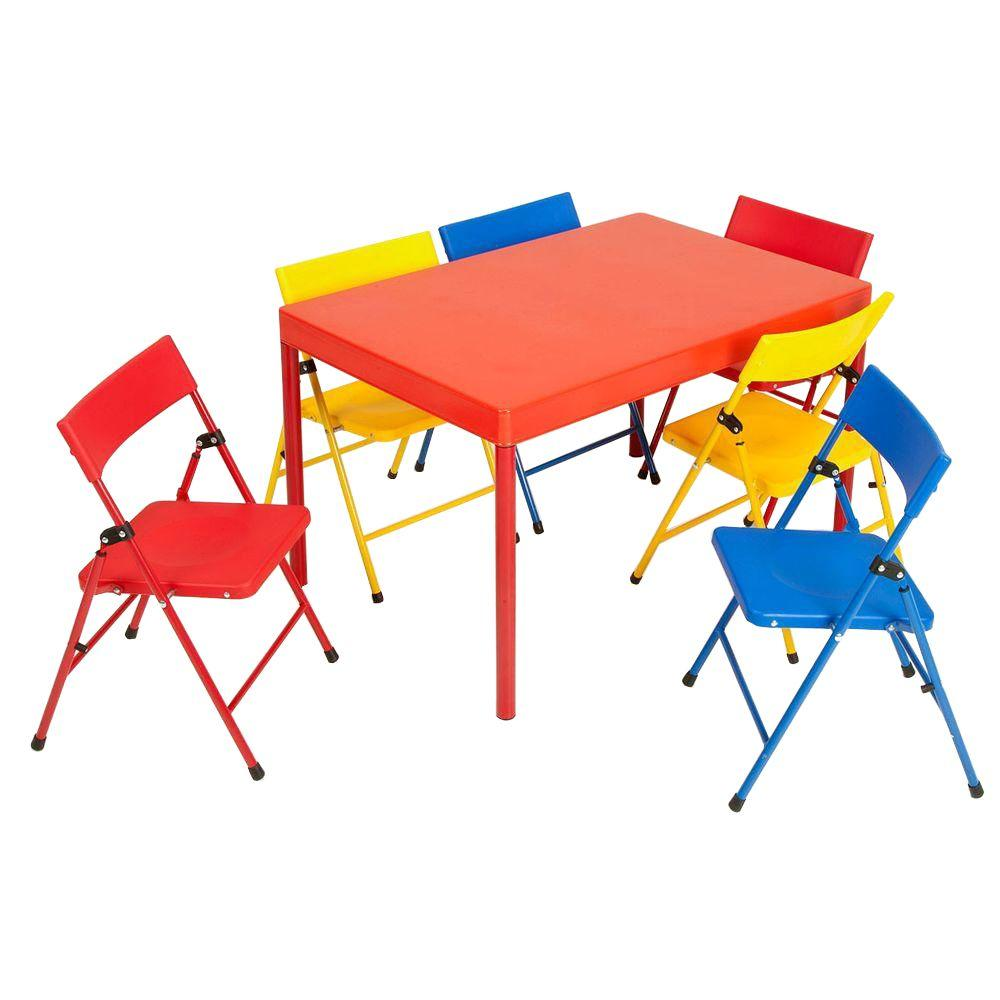 Cosco 36 in. x 24 in. Kids Table Set in Primary colors (7-Piece)