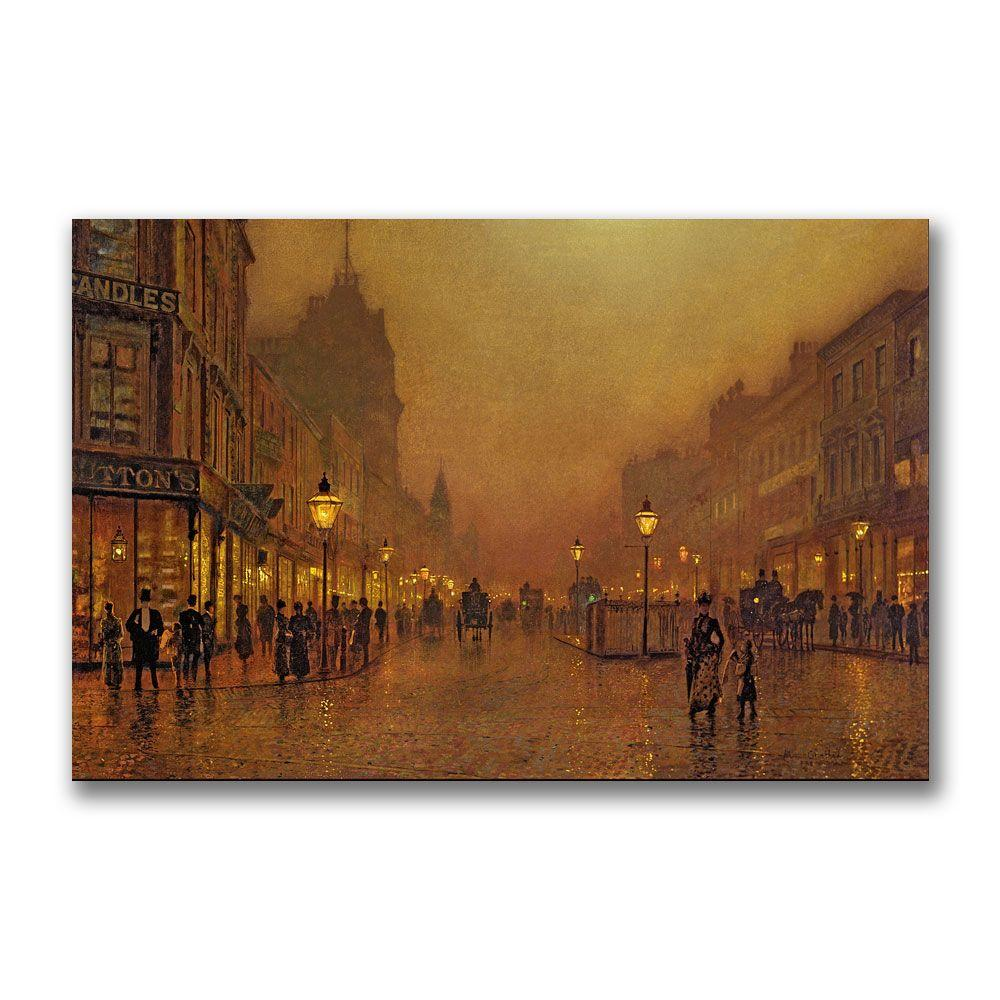 Trademark Fine Art 22 in. x 32 in. A Street at Night Canvas Art