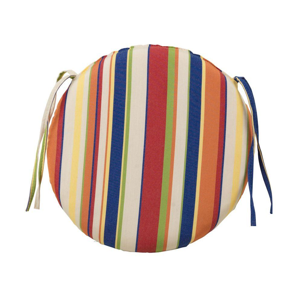 Home Decorators Collection Carnival Stripe Round Outdoor Chair Cushion