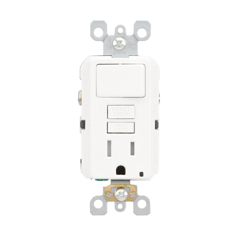 leviton 15 amp 125 volt combo self test tamper resistant gfci leviton 15 amp 125 volt combo self test tamper resistant gfci outlet and switch white gfsw1 0kw the home depot