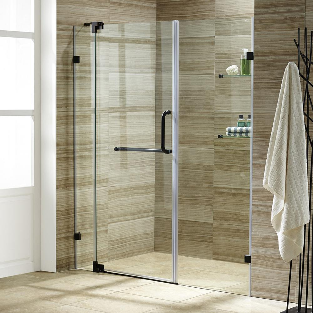 Pirouette 54 in. x 72 in. Frameless Pivot Shower Door with