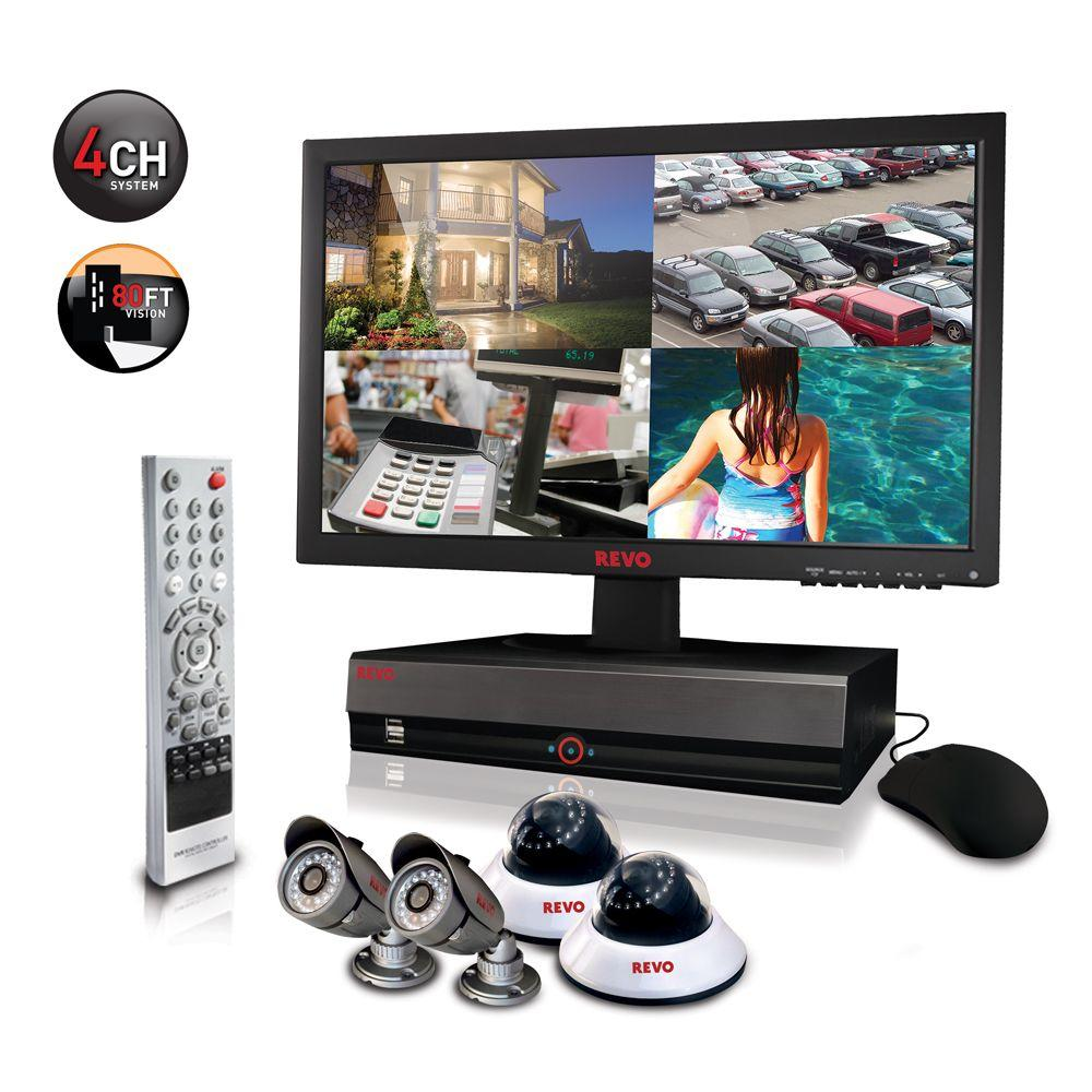 Revo 4-Channel 1TB DVR4 Surveillance System with 18.5 in. Monitor and (4) 600 TVL 80 ft. Night Vision Cameras