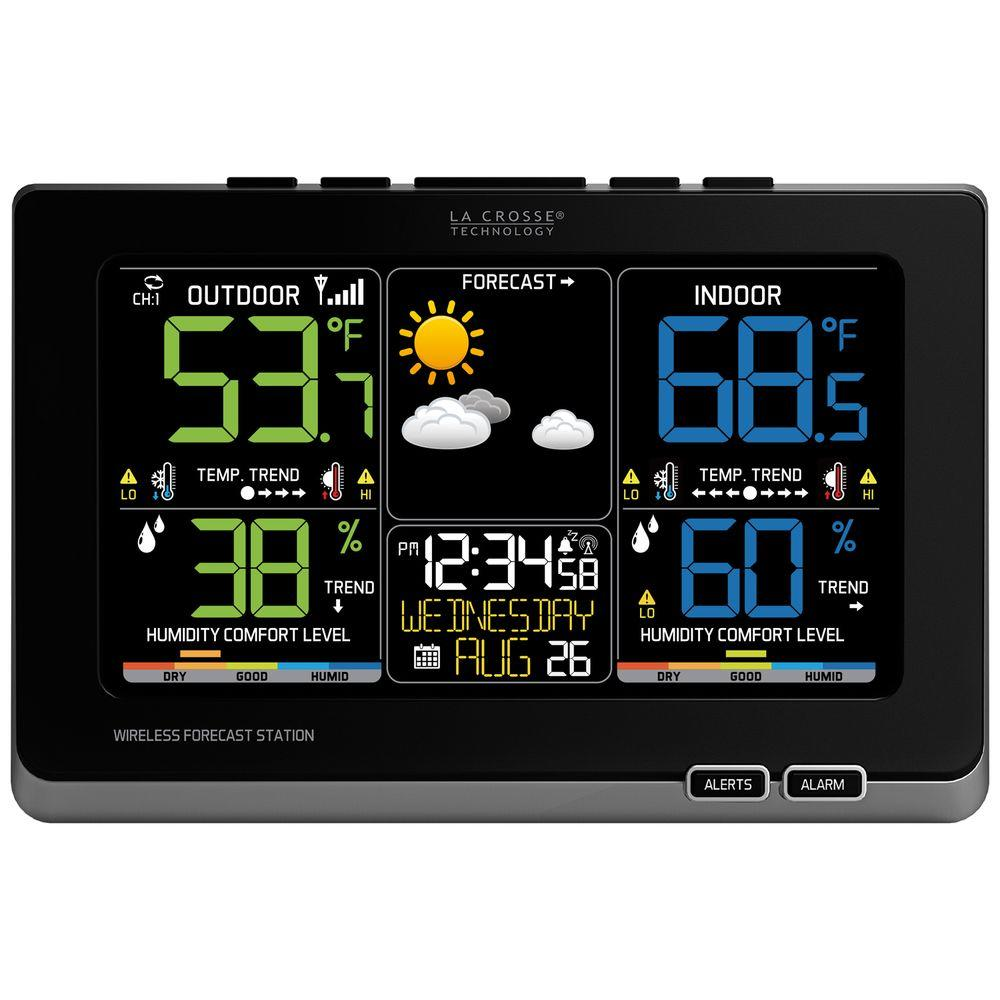 Wireless Forecast Station with Multi-Color LED in Black