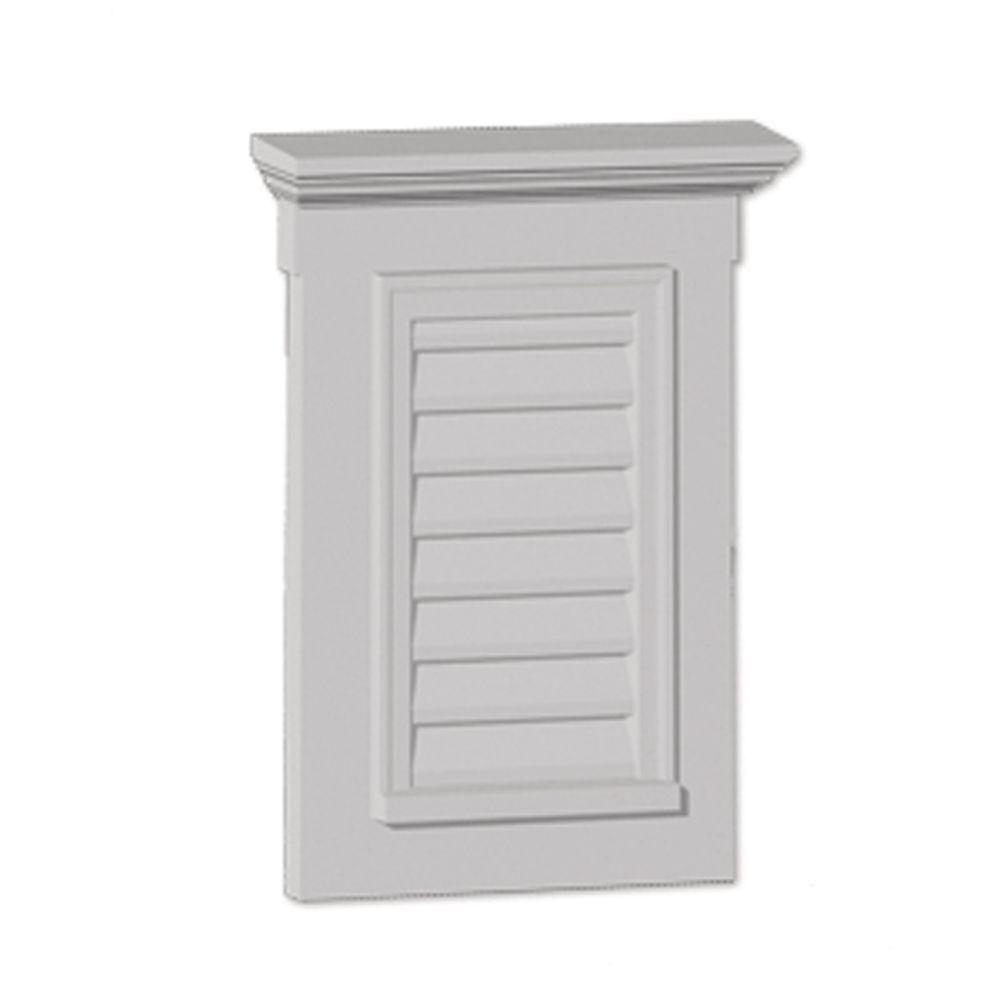 Fypon 31 in. x 33-1/2 in. x 3 in. Polyurethane Functional Vertical Louver Gable Vent with Flat Trim and Crosshead