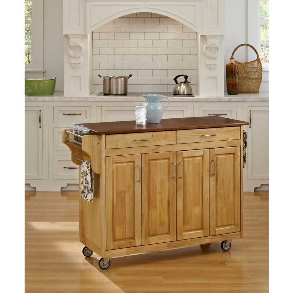 Create-a-Cart Natural Kitchen Cart With Oak Top