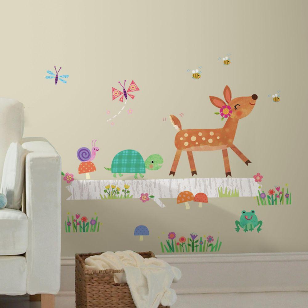 5 in. x 19 in. Woodland Baby Animal Log Peel and Stick Wall Decal (27-Piece), Multi