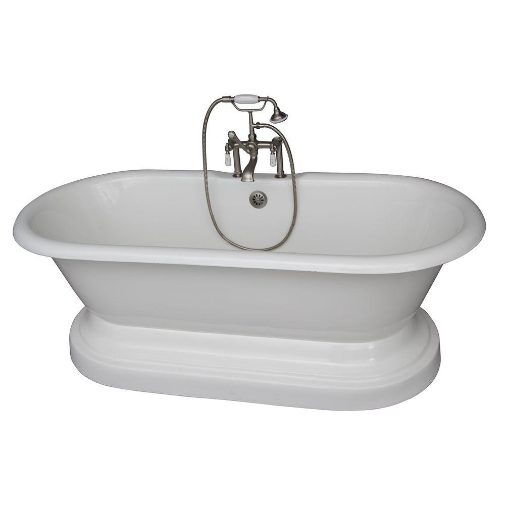 Barclay Products 5.6 ft. Cast Iron Double Roll Top Tub in White with Brushed Nickel Accessories