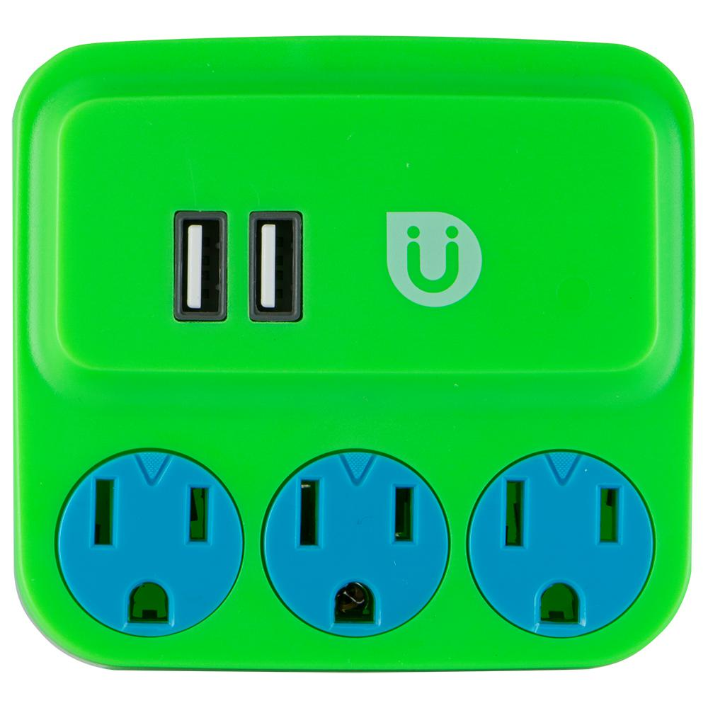 3 Grounded Outlet and 2-USB Port, 2.1 Amp Tap, Green and