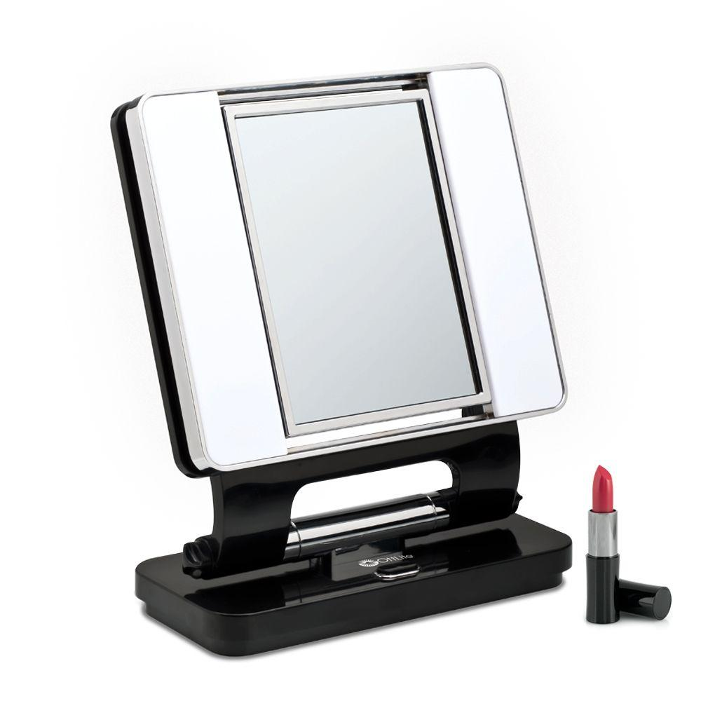 OttLite 13 in. Black Square Makeup Mirror With Dual Lights-DISCONTINUED