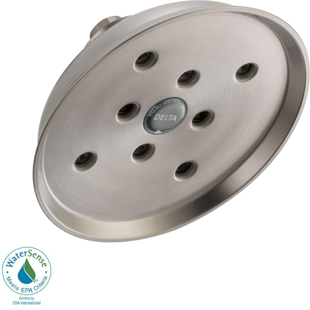 Delta 1-Spray 6-1/2 in. Raincan H2Okinetic Shower Head in Stainless