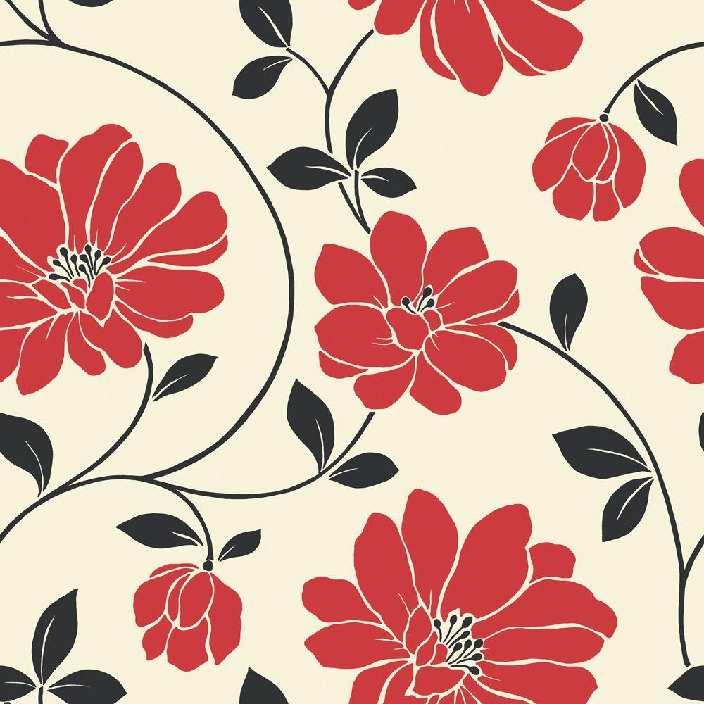 The Wallpaper Company 56 sq. ft. Red, Black and Cream Large Scale Modern Floral Wallpaper