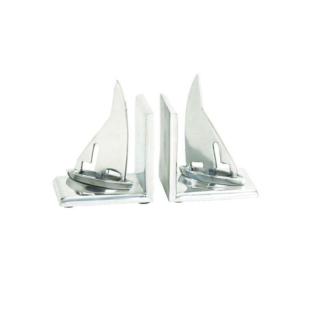 Home Decorators Collection 5 in. W Silver Traveler Sailboat Bookends (Set of 2)