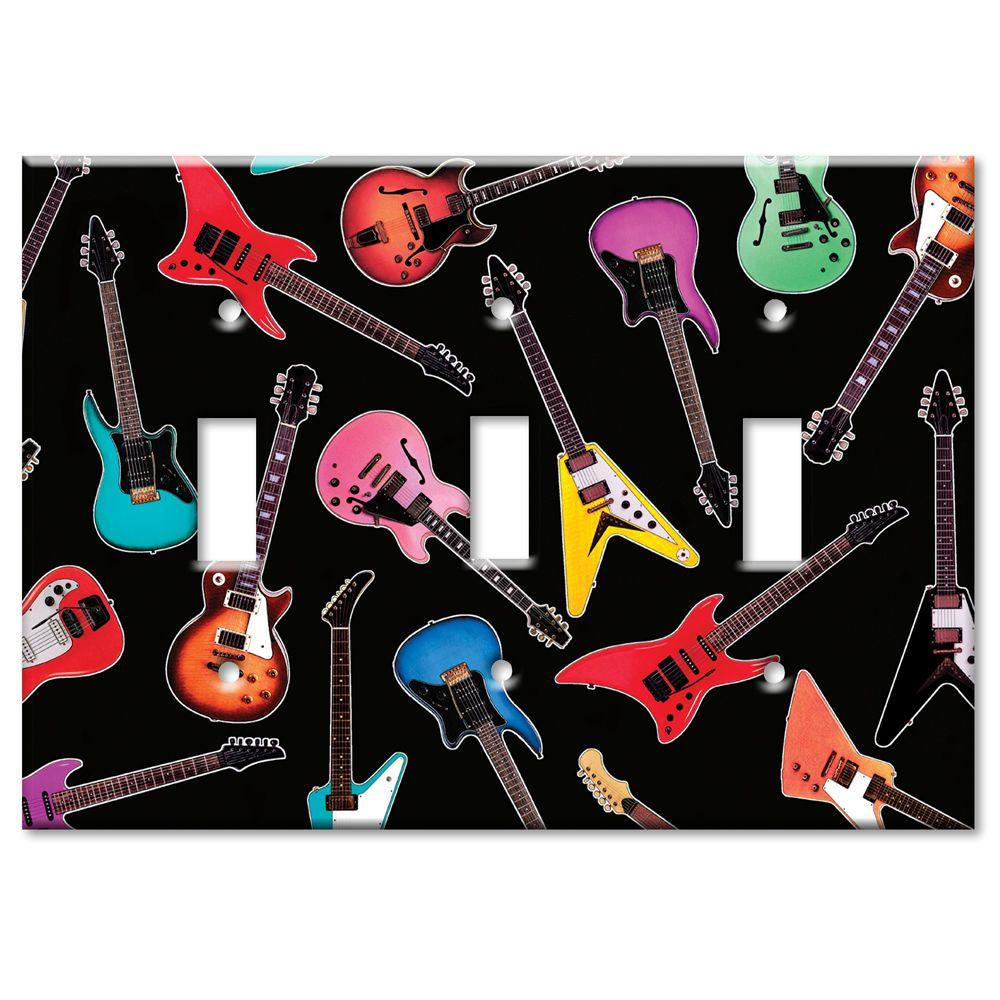 Art Plates Electric Guitars 3 Toggle Wall Plate