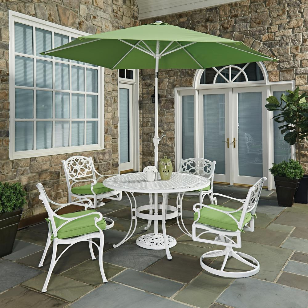 Biscayne White 7-Piece Outdoor Dining Set with Green Cushions