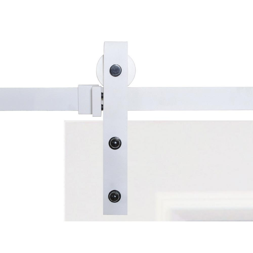 Calhome classic bent strap sliding barn door track and hardware sdh swd11 mw 79 the home depot - Barn door track hardware home depot ...