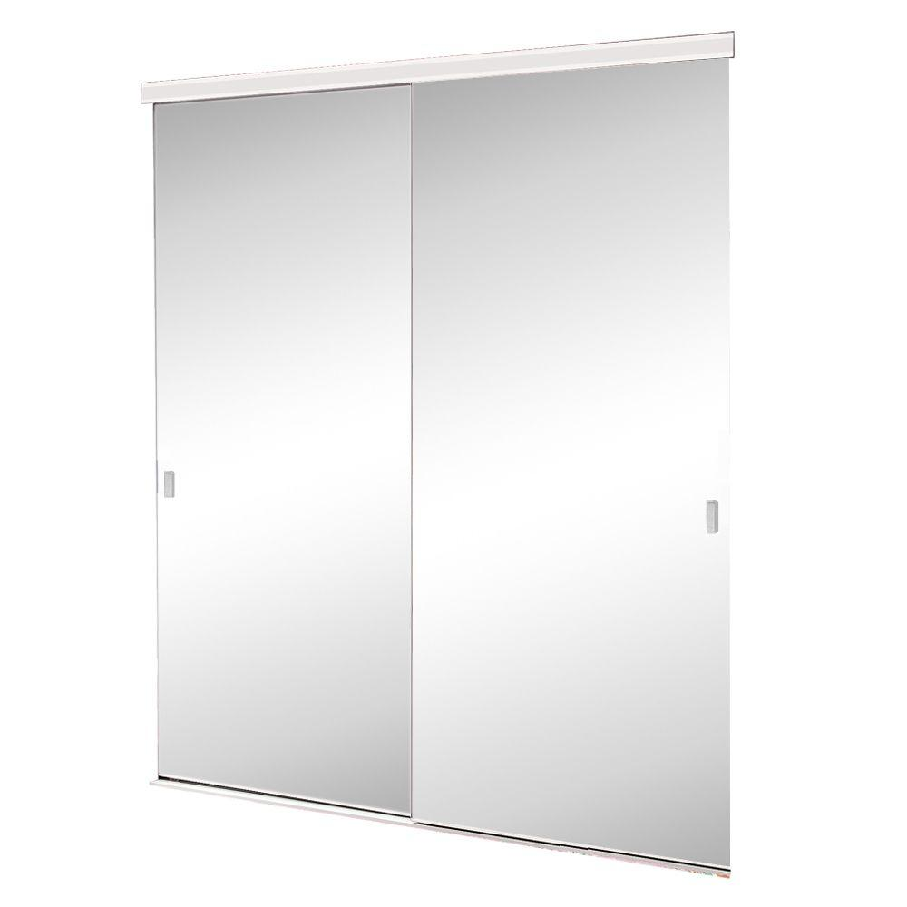 null 60 in. x 80 in. Brittany Steel White Mirrored Sliding Door