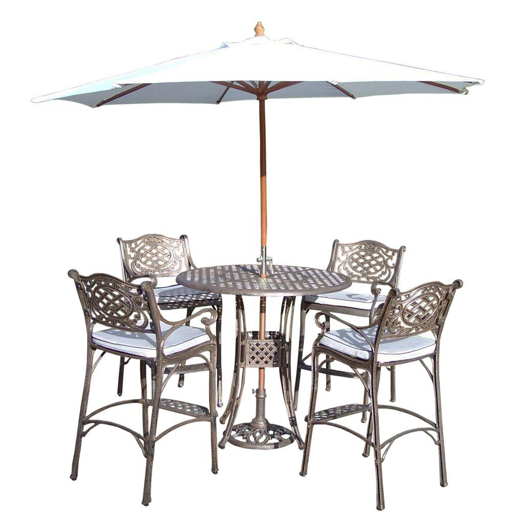 living elite cast aluminum 7 piece round patio bar height dining set