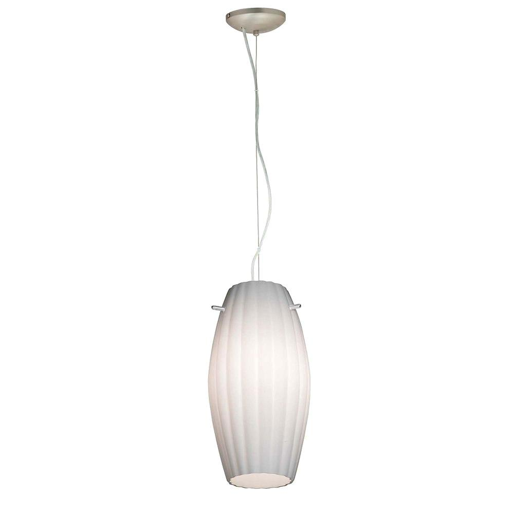 Access Lighting 1-Light Pendant Brushed Steel Finish Opal Glass-DISCONTINUED