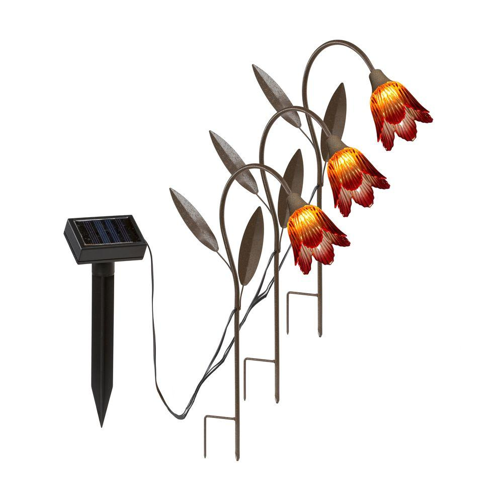 Hold All Outdoor LED Solar Tulip Stakes Path Light (3-Pack)