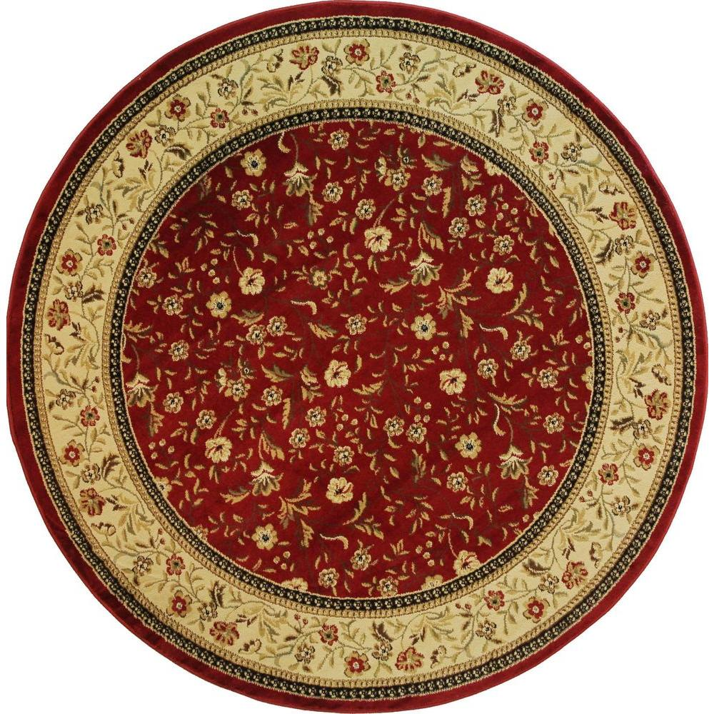 Well Woven Barclay Rosas Bouquet Red 5 ft. 3 in. Transitional Border Round Area Rug