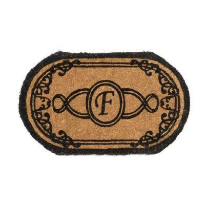 Perfect Home Lexington Brown 30 in. x 18 in. Oval Monogram F Door Mat-DISCONTINUED